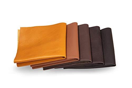 Lederstücke - Variierende Lederbündel in verschiedenen braunen Farbtönen, Leder Zuschnitt, Extra Große Stücke, Hochwertig zum Nähen, Lederverarbeitung, Basteln, Beziehen, Deko, 1Kg - min. DIN A5