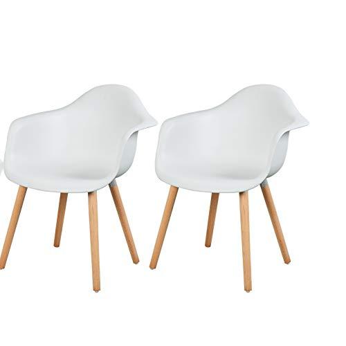 eSituro SDC0014 2X Esszimmerstühle Küchenstuhl Wohnzimmerstuhl Design Stuhl mit Rückenlehne Kunststoff Massivholz Weiß
