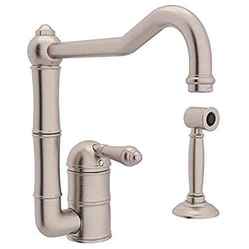Rohl A3608LMWSSTN-2 Single Handle Column Spout Kitchen Faucet with Sidespray, Satin Nickel