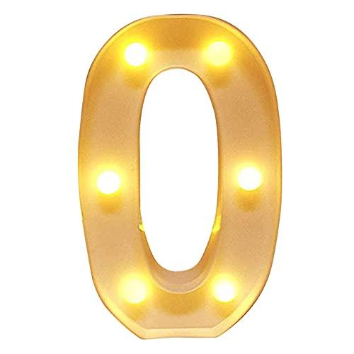LYMHGHJ Letrero de Luces LED de Letras y números Letrero de Letras de plástico Iluminado para luz Nocturna Boda/Fiesta de cumpleaños Lámpara navideña con Pilas Decoración de Bar en casa (0)