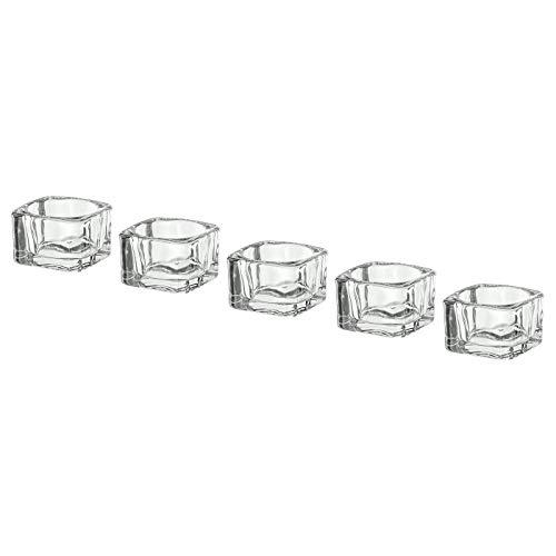 My- Stylo Collection - Portavelas de Cristal Transparente, 5 x 5 cm, 5 Unidades, tamaño del Producto: 5 x 5 x 3,5 cm, cantidad del Paquete: 5 Unidades, Material: Cristal