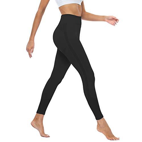 OUDOTA Damen Sports Leggings Slim Fit Hohe Taille Lange mit Bauchkontrolle Sport Blickdicht Yogahose Fitnesshose Laufhose Tights für zum Laufen, Radfahren, Fitness Mit Duft Schwarz XL