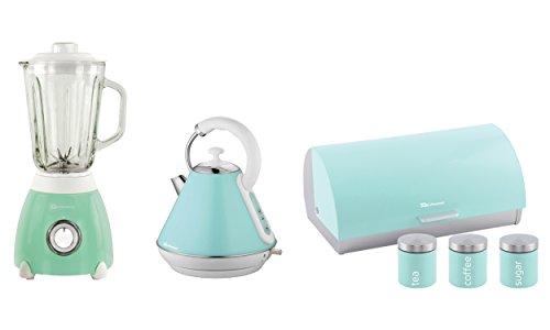 Set Wasserkocher, Standmixer, Brotkasten & 3 Kanister (Minzgrün)