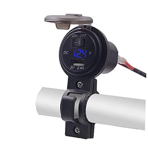 Canjerusof - Cargador de teléfono móvil para manillar de motocicleta, USB, enchufe móvil, adaptador de motocicleta, enchufe con interruptor, voltímetro, impermeable, 12 V, 2,4 A (azul)