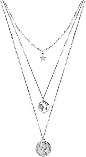 banbeitaotao Collar Cadenas Multicapa Acero Inoxidable Cabeza de Belleza Mapa del Mundo Redondo Collar Colgante Collar de joyería