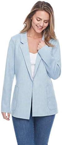 FDJ French Dressing Jean Faux Suede Boyfriend Jacket Sky, XX-Large
