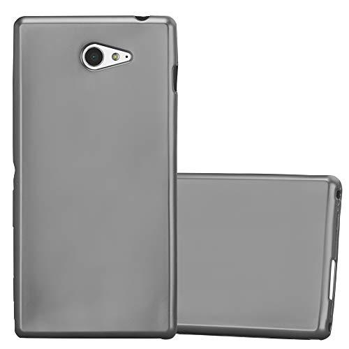Cadorabo Hülle für Sony Xperia M2 - Hülle in METALLIC GRAU – Handyhülle aus TPU Silikon im Matt Metallic Design - Silikonhülle Schutzhülle Ultra Slim Soft Back Cover Case Bumper