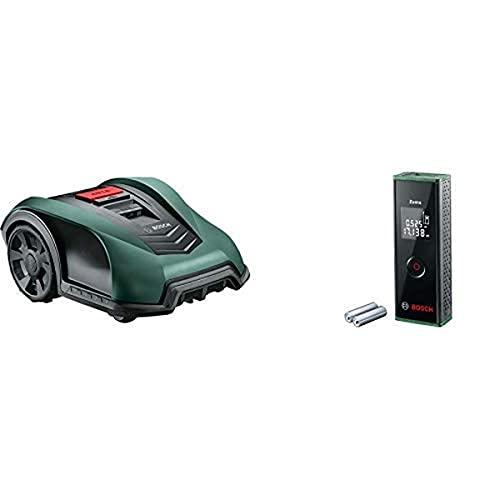 Bosch Rasenmäher Indego S+ 350 (einschließlich kostenloser App, 19 cm Schnittbreite, für Rasenflächen bis 350 m²) + Laser Entfernungsmesser Zamo (3. Generation, Messbereich: 0,15 – 20,00 m, Karton)