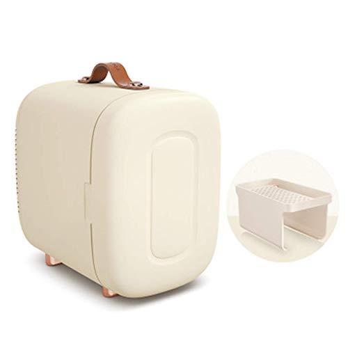 DFJU Mini refrigerador, Mini refrigerador portátil con Pantalla Visual de Temperatura y pies revestidos con Mango de Cuero para Dormitorio/Cuidado de la Piel/Almacenamiento de Leche Materna, Verde