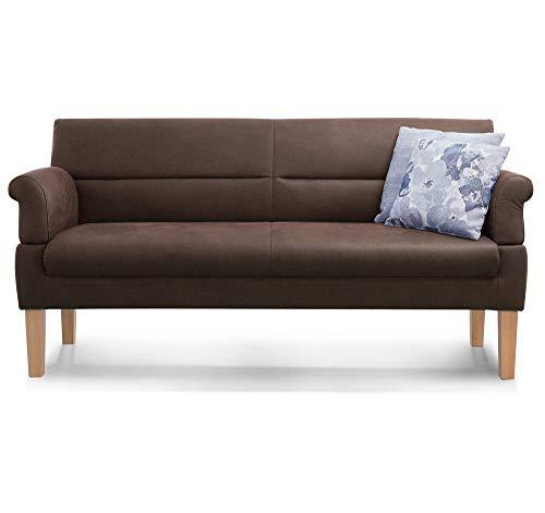 Cavadore 3-Sitzer Sofa Kira mit Federkern / Sitzbank für Küche, Esszimmer / Inkl. Armteilfunktion / 189 x 94 x 81 / Kunstleder dunkelbraun