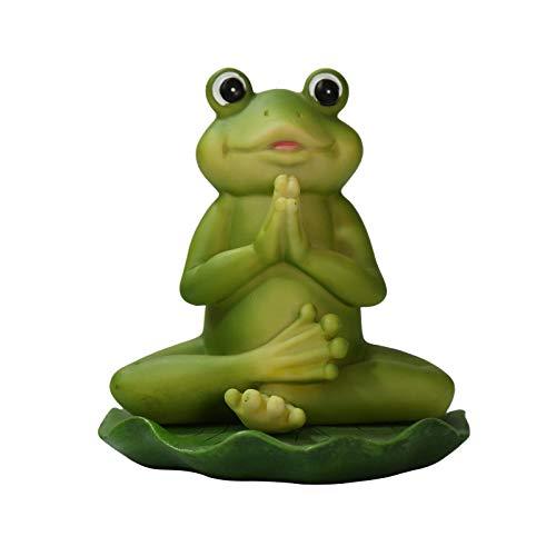 NRRN Estatua de rana meditante, resina Zen Animal Yoga Figurita para decoración de césped al aire libre para camas de flores