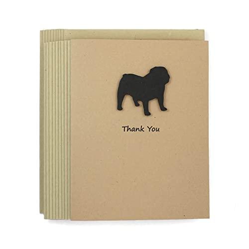 Bulldog Thank You Cards Pack of 10   Handmade Black Dog Notecards   Dog Greeting Cards