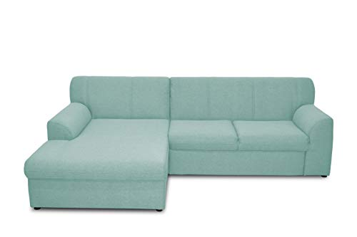 DOMO. collection Topper Ecksofa, Sofa, Couch in L-Form, kleine Polsterecke mit Schlaffunktion, Eckcouch, Polstergarnitur, blau, 245 x 155