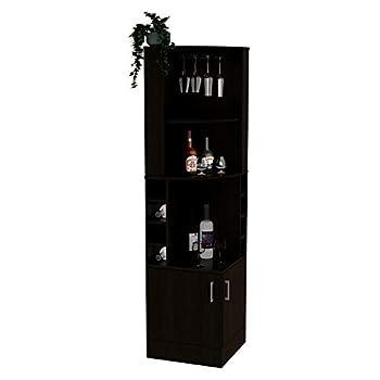 TUHOME Syrah Corner Bar Cabinet in Black