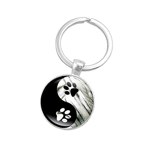 Llavero ZIYUYANG.Yin y Yang llavero de piedras preciosas colgante de cristal con huella de perro 4