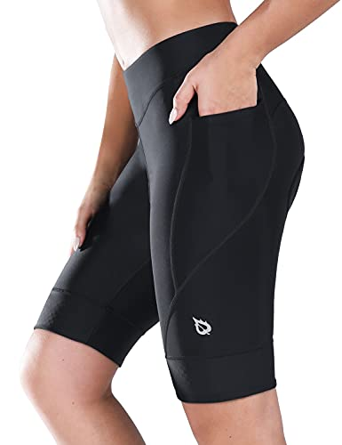 BALEAF Women's Bike Shorts 4D Padded Cycling Spinning Road Bike Pockets Wide Waistband UPF50+, Black M