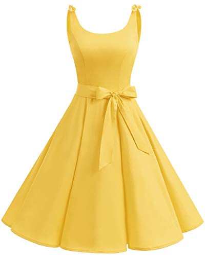 Bbonlinedress 1950er Vintage Polka Dots Pinup Retro Rockabilly Kleid Cocktailkleider Yellow M