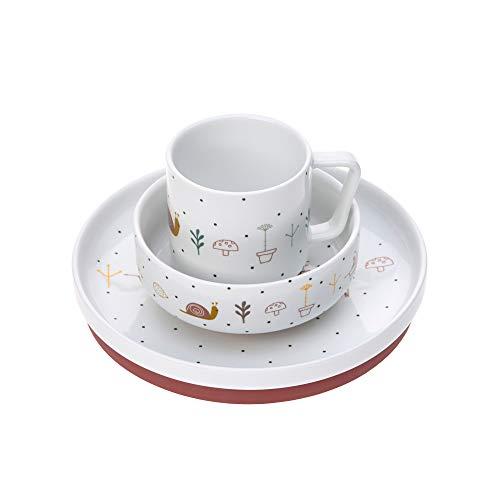 LÄSSIG Geschirrset Porzellan Kindergeschirrset Teller Schüssel Tasse mit Silikonring rutschfest Kindergeschirr/ Garden Explorer girls