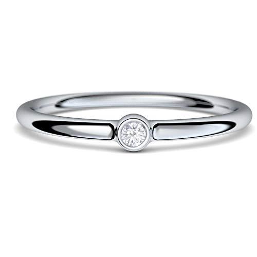 Verlobungsringe Silber von AMOONIC mit Zirkonia Ring Damen Damenring schlicht zart Silberringe dünn schmal Ring Silber 925 Zirkonia Weißgold Solitairering Solitär KA11SS925ZIFA56