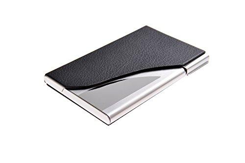 Estuche para tarjetas de visita, profesional y útil, hecho de acero inoxidable y cuero. Diseño elegante y robusto. Medidas: 9,6cm x 6cm x 1cm de negro / metálico