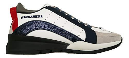DSQUARED - Zapatillas deportivas de piel blanca e inserciones azules y gris Blanco Size: 40.5/43 EU