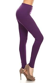 NCL32-Purple-L Cotton Spandex Solid Leggings Large