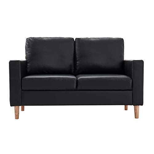 Panana 2 Seater Sofa Faux Leather Corner Sofa Settee Couch for Living Room Office Lounge Home Furniture in Black
