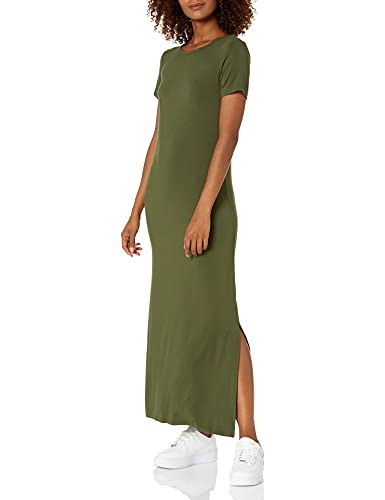 Daily Ritual Women's Jersey Standard-Fit Crewneck Short Sleeve Maxi Dress with Side Slit, Forest Green, Small