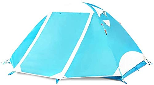 LAZ Camping Tent Aluminium Rod Rain-Proof Climbing Tents Windproof Compact Beach Tent 2 People (Color : Blue, Size : 210 cm)