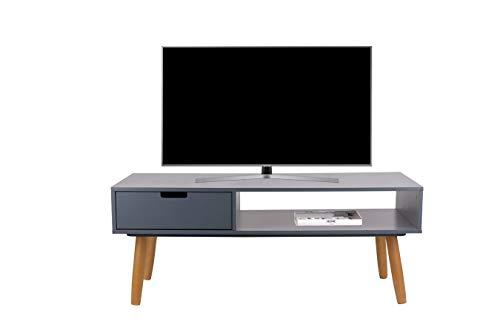 LIFA LIVING Fernsehtisch Lowboard Grau mit Schublade, Vintage TV Schrank TV Board Holz, Couchtisch Wohnzimmertisch für Flachbildschirm Fernseher Konsole, 40x100x40