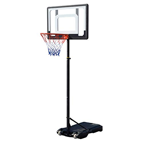 WZR Portable Basketball Hoop & Goal,155 cm - 210 cm,Height Adjustable Basketball System with Wheels for Kids Indoor Outdoor Black 80x58x210cm(31x23x83inch)
