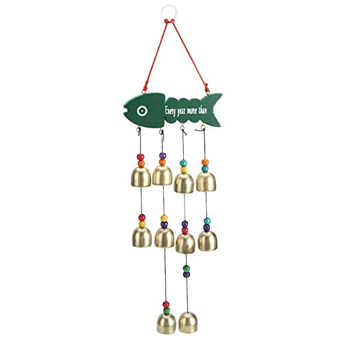Cloche de Vent Suspendu pour la décoration de Jardin, carillons de Vent de Poisson de Dessin animé Unique Suspendus Cloche de Vent décor Cour Maison Ornement Cadeau d'anniversaire Cloches(Vert)