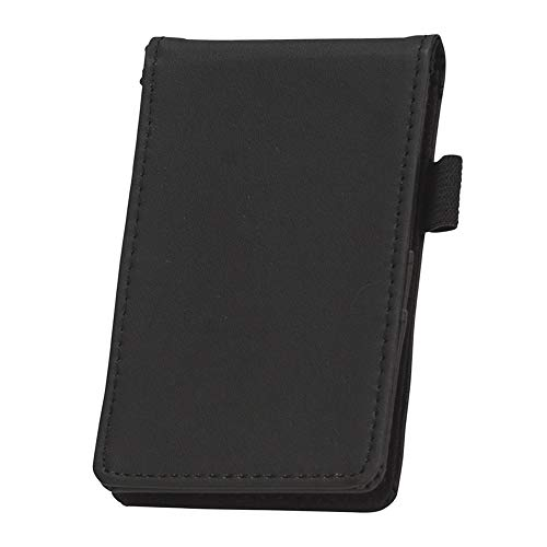 Samsill Mini Pocket Notepad Holder, Memo Book Cover, 2 7/16 x 4 1/4 Included with 40 Lined Sheets, Refillable, Black