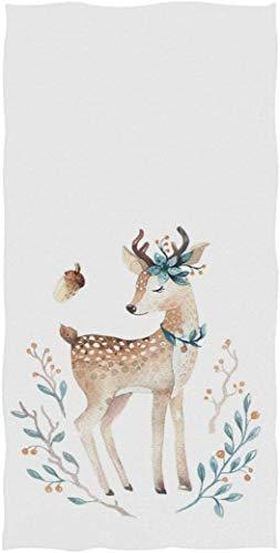 MSJXNF Toallas de mano para invitados con diseño de ciervo infantil, multiusos, para baño, hotel, gimnasio y spa (40,6 x 76,2 cm), color blanco