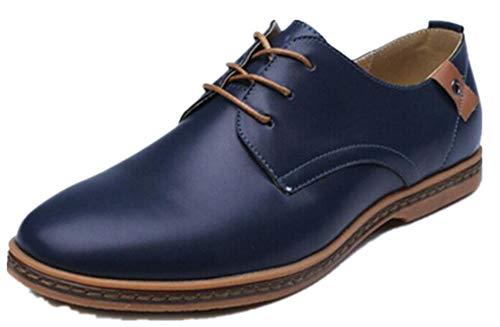 AHUQI - Zapatos de tendón de Carne de Vacuno para Hombre, Talla Extra Grande, diseño de Inglaterra, Color Azul, Talla 43 EU