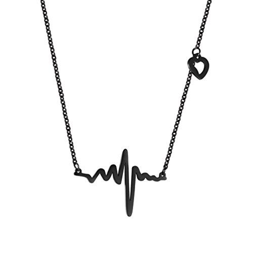 PROSTEEL Collar Colgante de Corazòn ECG Latido Colgante de Acero Inoxidable para Mujer ECG Wave Romántico Amor Encanto Plateado/Chapado en Oro/Arma Negro