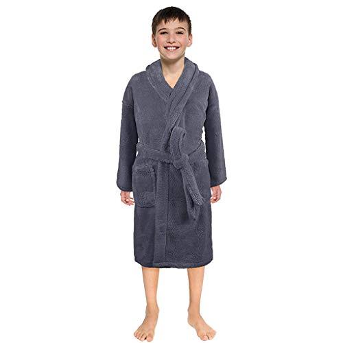 WFRAU Kinder Winter Home Revers Dicker Flanell-Bademantel mit Taschen Unisex Einfarbig Warm Langarm mit Hüftgurt Handtuch Kind Jungen Mädchen Nachthemd Nachtwäsche Anzug für 3-12 Jahre
