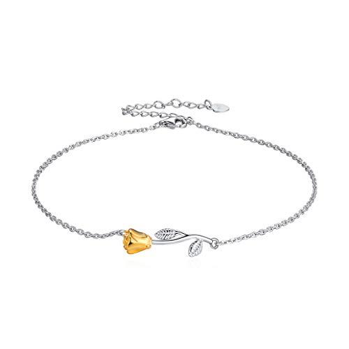 Silvora Femme Bracelet Cheville avec Fleur en Argent Sterling 925, Chaîne Maille Fine de Pied Bracelet de Cheville Réglable