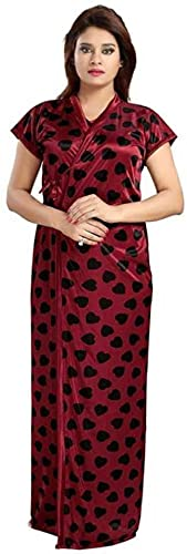 FACHARA Women's Satin Solid Gold Collection Maxi Full-Length Nighty/Night Wear/Sleep Wear/Night Gown (Maroon, Free Size) (Maroon, Satin Blend)