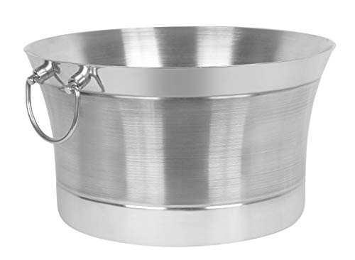 BirdRock Home Double Wall Round Beverage Tub - Stainless Steel - Ice Bucket - Metal Drink Cooler - House Party - Handles Small Container - Small