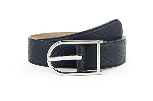Gucci Guccissima Gürtel aus gummiertem Kalbsleder, Blau - Blau - 32/34 US / 85 UK