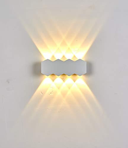 Topmo-plus LED applique murale imperméable Luminaire mural cour Lampe murale terrasse exterieur Aluminium / 8W bridgelux COB/Up cuisine, salon, Hall, club,café, hotel romboide (Blanc/Blanc chaud)