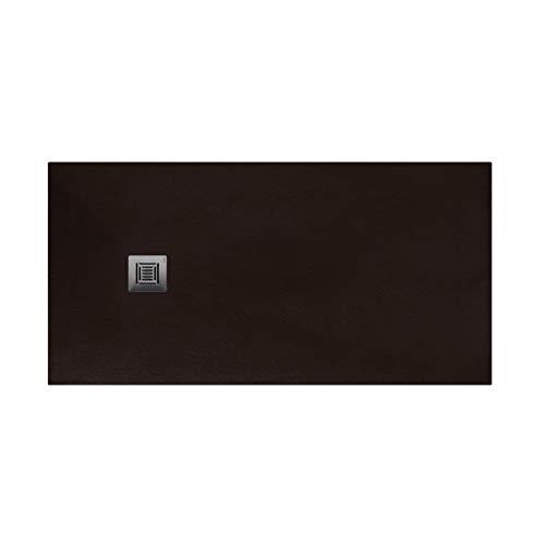 Plato de ducha rectangular de 100 x 80 x 3 centímetros, con válvula de desagüe, colección Suite N, color wengué (Referencia: 6348082)