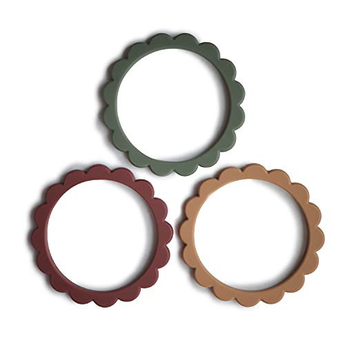 mushie Flower Teether Bracelet   3-Pack (Dried Thyme/Berry/Natural)