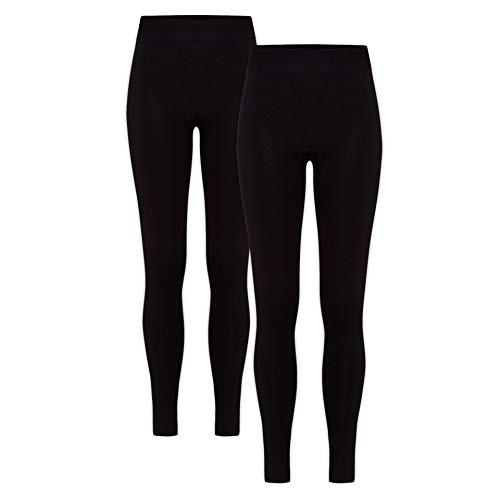 HEATEX Damen Thermo Leggings mit Fleece Blickdicht (2 Pack) Schwarz 40-42 (L/XL)