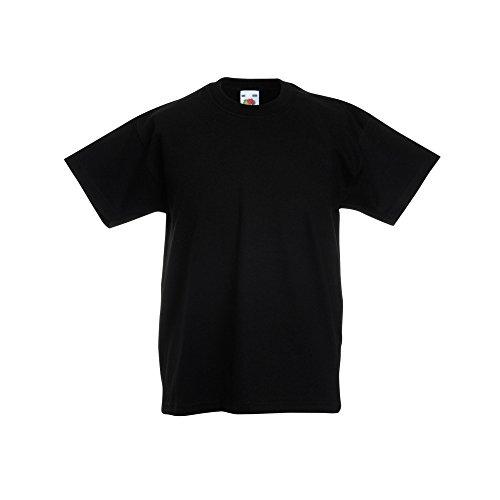 Fruit of the Loom Kinder Original Kurzarm T-Shirt (7-8 Jahre) (Schwarz)