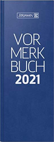 BRUNNEN 1078602301 Tischkalender/Vormerkbuch Modell 786, 2 Seiten = 1 Tag, 11,0 x 29,7cm, Balacron-Einband blau, linke Seite Kalendarium 2021, rechte Seite für Notizen