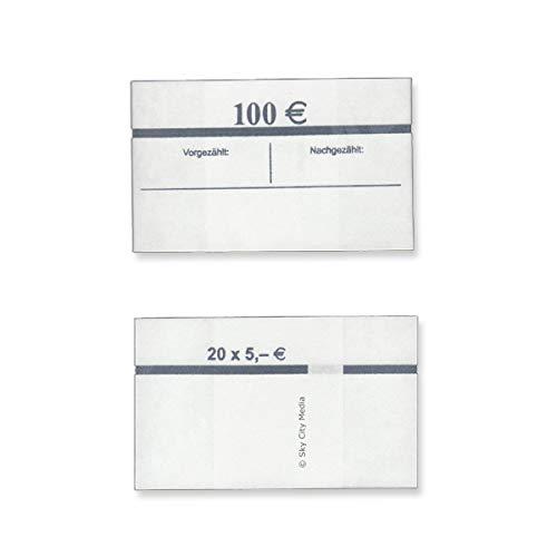 Banderolen für Euro Geldscheine je 50x (5 € Banderole) Geldbanderole Papier für Geldbündel Fassungsvermögen je 20 Scheine