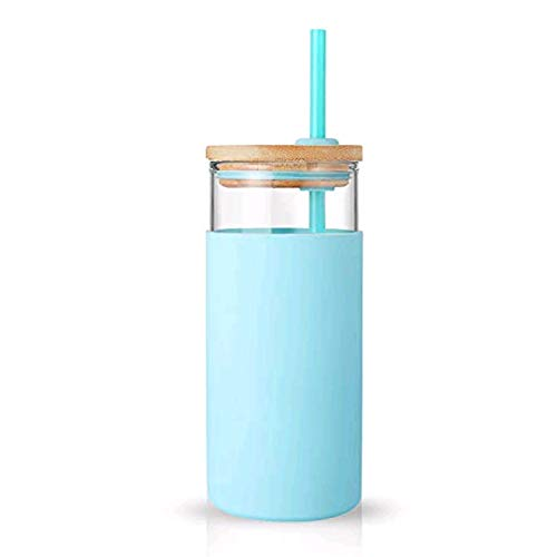 tronco 20oz Glass Tumbler Straw Silicone Protective Sleeve Bamboo Lid - BPA Free (Cape Cod Blue)