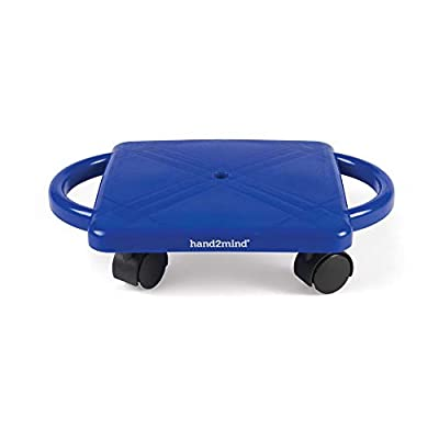 hand2mind Blue Indoor Scooter Board with Safety Handles for Kids Ages 6-12, Plastic Floor Scooter Board with Rollers, Physical Education for Home, Homeschool Supplies (Pack of 1) by ETA hand2mind